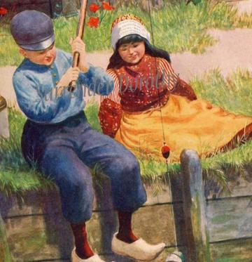 Rescued Doll 1911 Antique Lithograph For Children