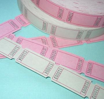 blank tickets / 6 dozen / pink and white / SPECIAL SALE / carnival