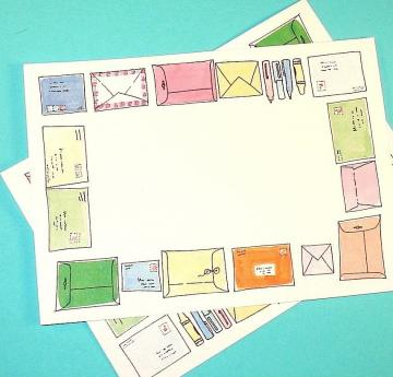 25  flat notecards / colorful envelope motifs