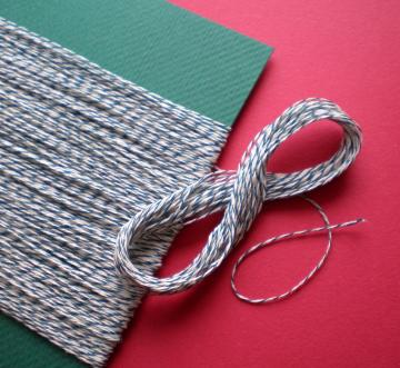green and white bakery twine / over 100 feet