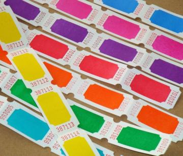tickets . 16 dozen . 8 colors . super brights on white