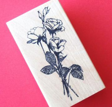 rubber mounted stamp / long stem roses