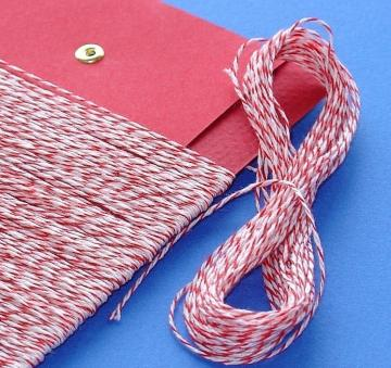 red and white bakery twine / over 100 feet