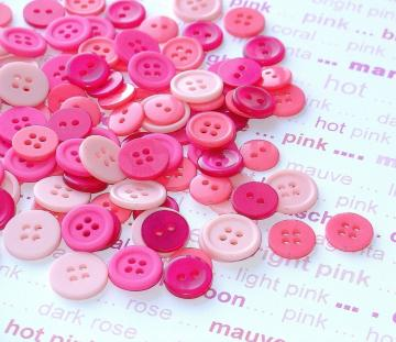 SPECIAL VALUE pink magenta buttons / 200 pieces lots of shades & sizes