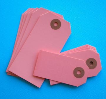50 pink shipping tag labels / 2 size assortment