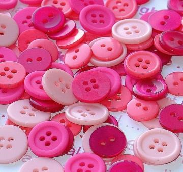pink magenta buttons / 100 pieces assorted