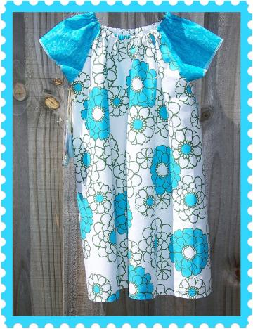 Blue Summer Flowers Raglan Sleeve Dress / Matching Hair ties - Size 5