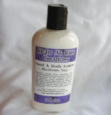 4 oz BLACKBERRY SAGE Hand and Body Lotion - Nongreasy, Vegan