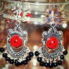 Tibetan silver & red turquoise earrings