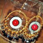 Black pearl shell donut & red corals chandelier earrings