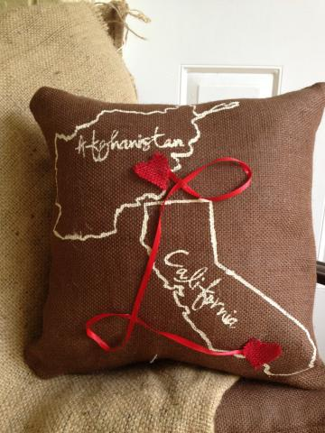 Heartstrings Burlap Throw Pillows by CarmaMia Decor