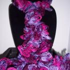 Long Ruffled Scarf-Shades of Purple And Hot Pink- Free Shipping