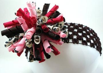 Super Full Korker Boutique Style Hairbow Brown, Pink, and Leopard Mix  with brown crochet headband...Simply Fabulous...ONE DOLLAR SHIPPING