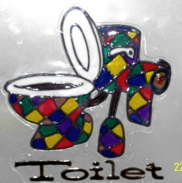 Toilet Door Sign Peelable Stained Glass by Funny Banana on Zibbet