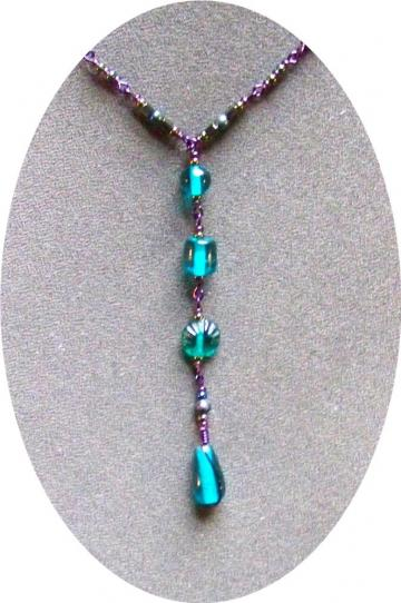 Teal on Purple Bead Chain Necklace