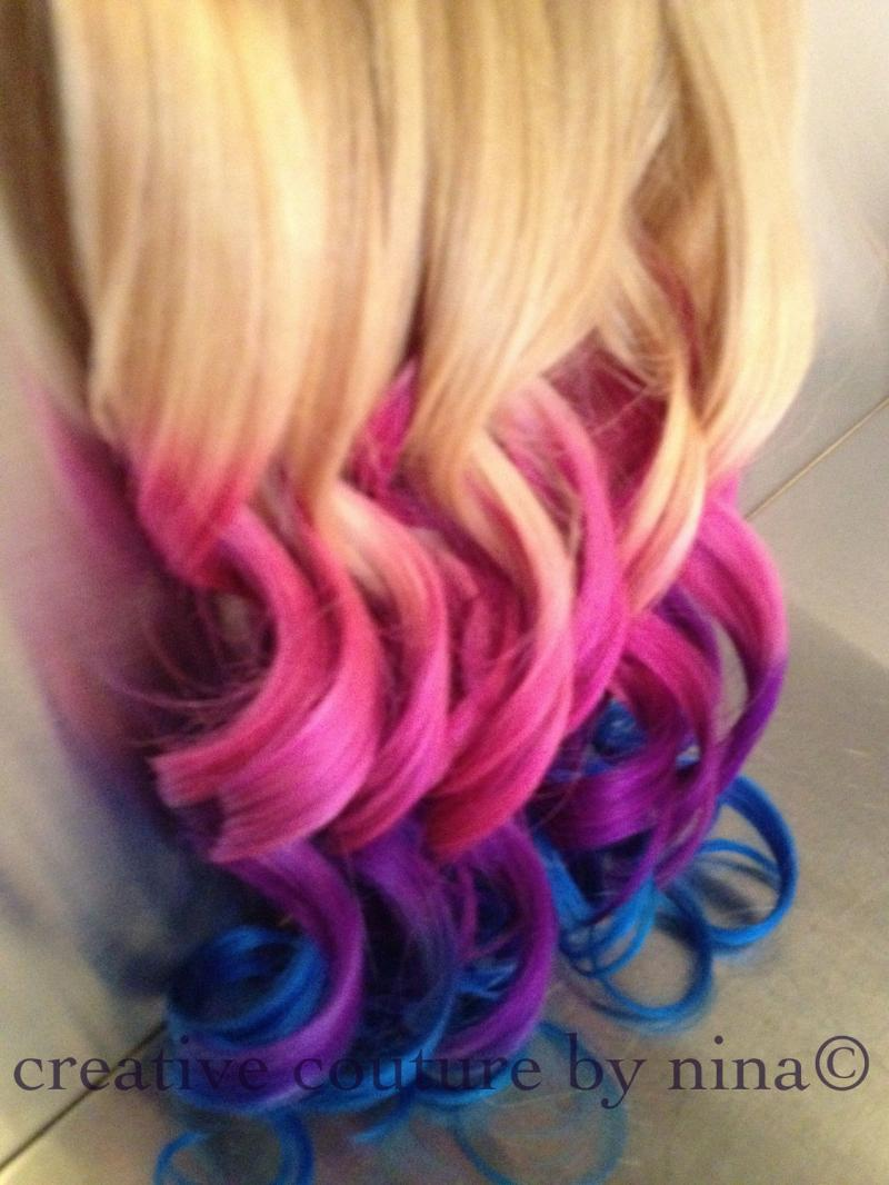 Ombre Hair,Tie dye Hair, Blonde Hair Extensions, Pink Ombre,Purple ...