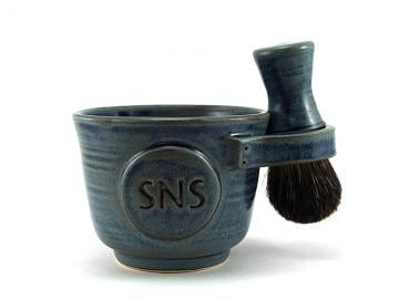 Blue Personalized Shaving Set: Black Badger Shave Brush, Custom Shave Mug with Monogram or Initials, Shave Soap, Groom, Pottery Gifts for Men, Made to Order